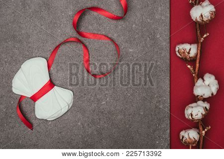 Top View Of Arranged Menstrual Pads With Ribbon And Cotton Twig