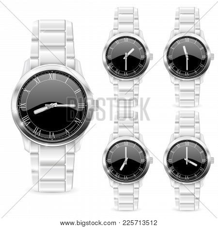 Men Wrist Watch With Metal Bracelet. Black Clockface With Roman Numerals. Vector 3d Illustration Iso