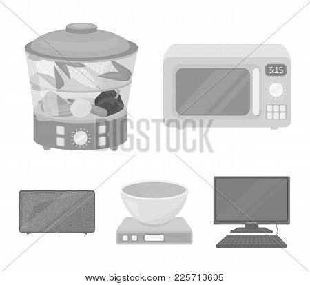 Steamer, Microwave Oven, Scales, Lcd Tv.household Set Collection Icons In Monochrome Style Vector Sy
