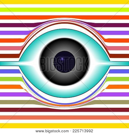 Abstract Eye Icon. Eye On Multicolored Striped Background