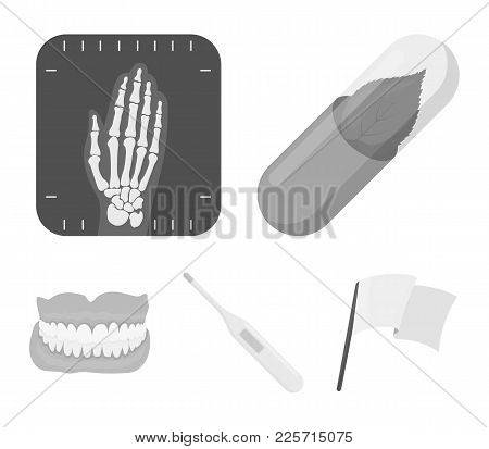 Eco Tablet, Electronic Thermometer, Hand X-ray, Denture.medicine Set Collection Icons In Monochrome