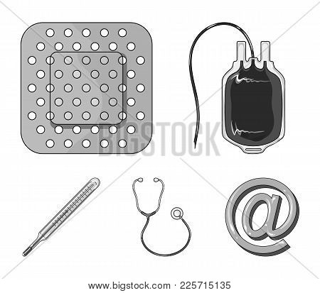 Package With Donor Blood And Other Equipment.medicine Set Collection Icons In Monochrome Style Vecto