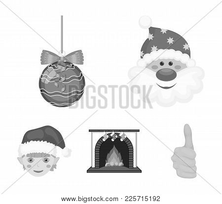 Santa Claus, Dwarf, Fireplace And Decoration Monochrome Icons In Set Collection For Design. Christma