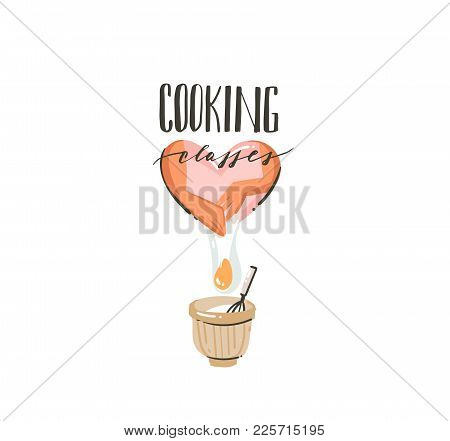 Hand Drawn Vector Abstract Modern Cartoon Cooking Time Illustrations Icon With Cooking Woman Prepari