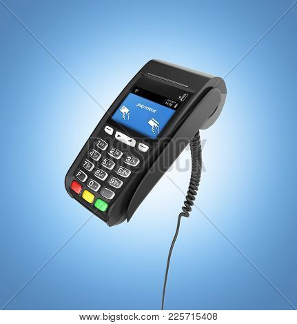 Card Payment Terminal Pos Terminal Isolated On Blue Gradient Background 3d Render
