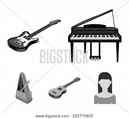 Musical Instrument Monochrome Icons In Set Collection For Design. String And Wind Instrument Isometr