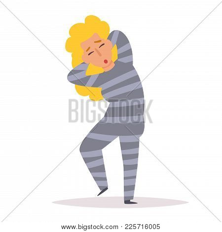 Criminal In Striped Prison Clothes. Robber. Vector. Cartoon. Isolated Art On White Background. Flat