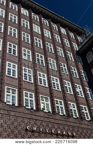 Hamburg, Germany - October 12, 2015: Facade Of The Chilehaus (chile House) - An Architectural Landma