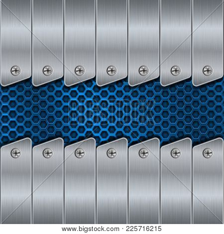 Metal Background With Rivets And Blue Perforation. Vector 3d Illustration