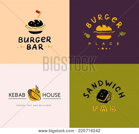 Collection Of Vector Flat Fast Food Logo Set Isolated On White Background. Hand Drawn Meal Elements