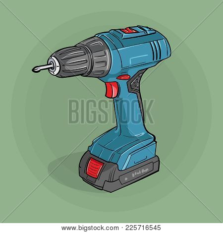 Screwdriver. Building electric tools for drilling and twisting. Vector. Illustration