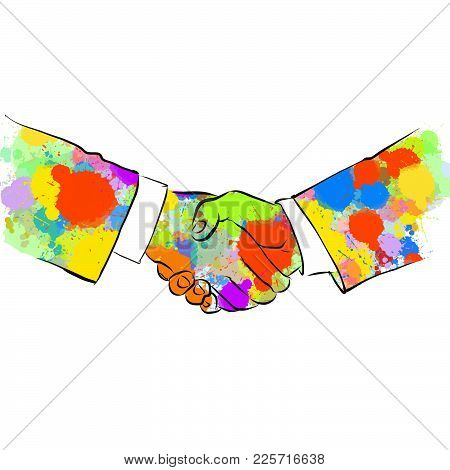 Colorful Business Handshake Sketch. Hand Drawn Vector Illustration, Splatter Color Isolated On White