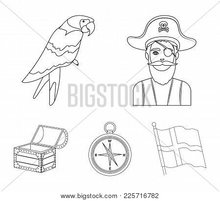 Pirate, Bandit, Hat, Bandage .pirates Set Collection Icons In Outline Style Vector Symbol Stock Illu
