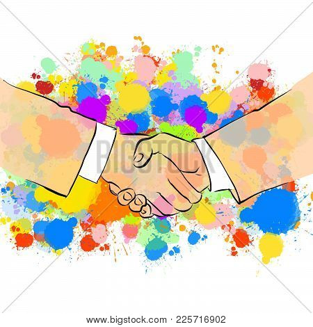 Business Handshake With Colorful Background. Hand Drawn Vector Illustration, Splatter Color Isolated