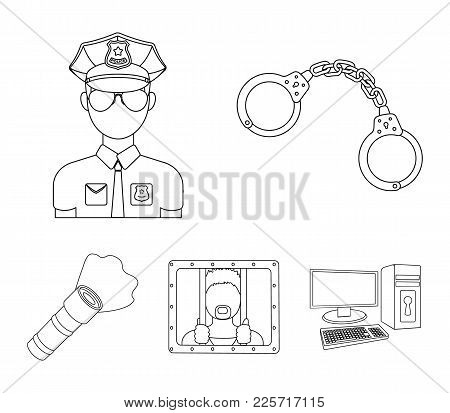 Handcuffs, Policeman, Prisoner, Flashlight.police Set Collection Icons In Outline Style Vector Symbo