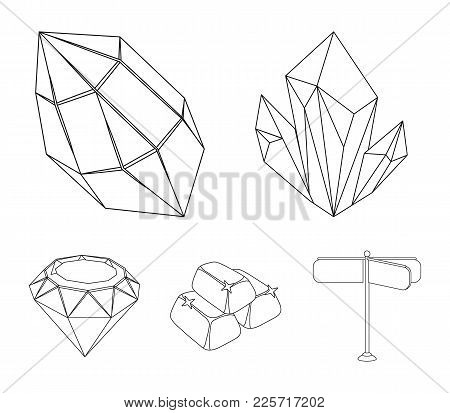 Crystals, Minerals, Gold Bars. Precious Minerals And Jeweler Set Collection Icons In Outline Style V