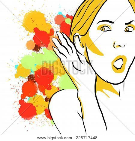 Colorful Gossip Listening Sketch. Hand Drawn Vector Illustration, Splatter Color Isolated On White B