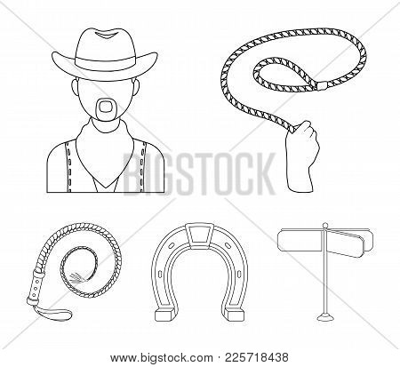 Hand Lasso, Cowboy, Horseshoe, Whip. Rodeo Set Collection Icons In Outline Style Vector Symbol Stock
