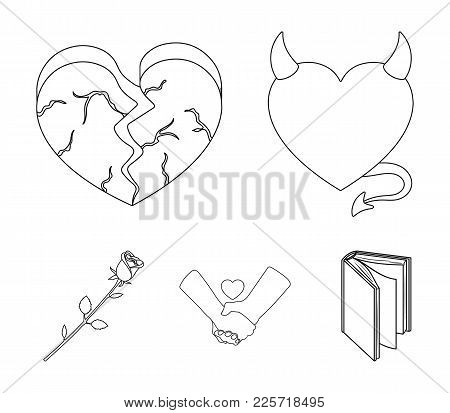 Evil Heart, Broken Heart, Friendship, Rose. Romantic Set Collection Icons In Outline Style Vector Sy