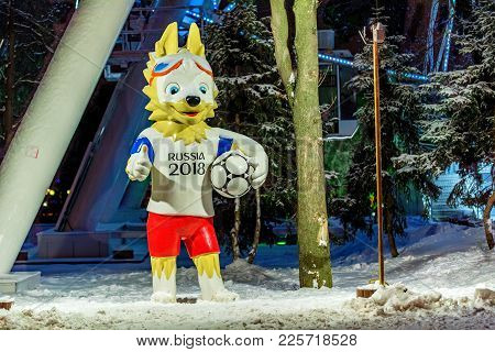 Rostov-on-don, Russia - January 19, 2018: The Official Mascot Of The 2018 Fifa World Cup And The Fif