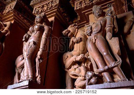 Khajuraho, India - November 10, 2017: Details Of Interior Of Lakshmana Temple In Khajuraho. Sculptur