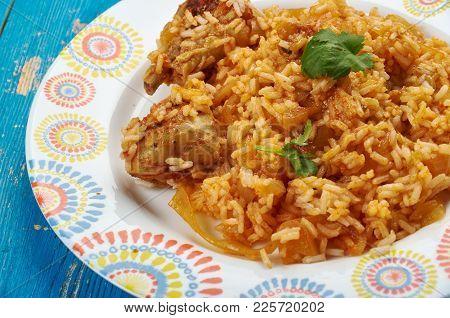Kenyan Chicken Pilau,  Kenyan Chicken Biryani . Close Up