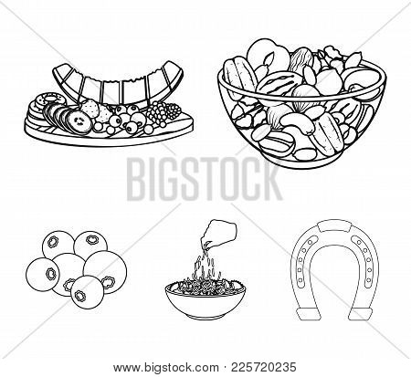 Assorted Nuts, Fruits And Other Food. Food Set Collection Icons In Outline Style Vector Symbol Stock