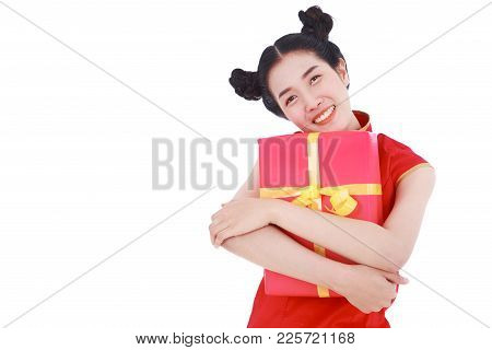 Young Woman Holding Red Gift Box In Concept Of Happy Chinese New Year Isolated On White Background