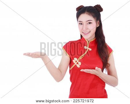 Woman Wear Red Cheongsam With Open Hand Palm In Concept Of Happy Chinese New Year Isolated On White