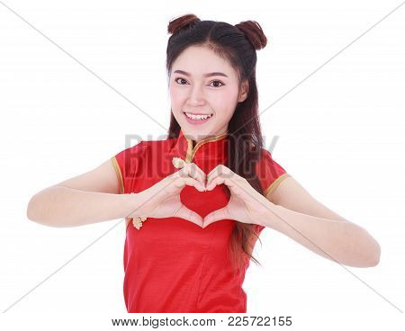 Woman Wear Red Cheongsam With Hand Heart Sign In Concept Of Happy Chinese New Year