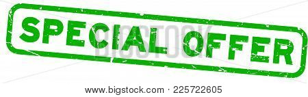 Grunge Green Special Offer Square Rubber Seal Stamp On White Background