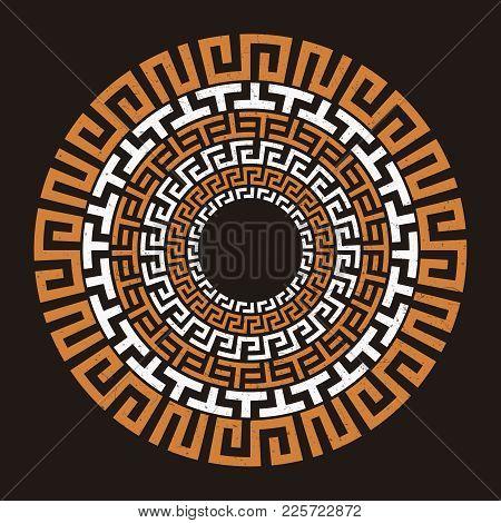 Ancient Greek Round Meander Key Symbol Grunge Design. Vector Illustration
