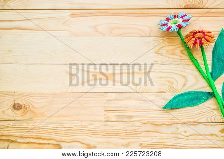 Module Origami Flowers On Wooden Rustic Background