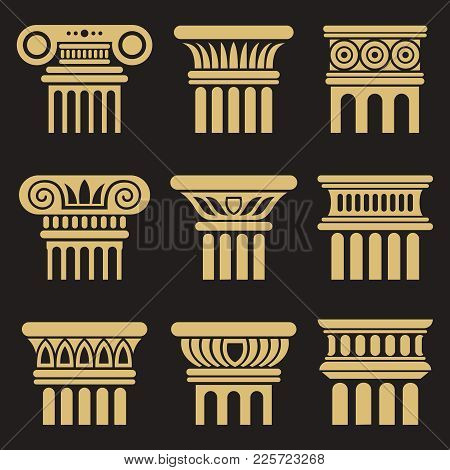 Set Of Golden Ancient Rome Architecture Column Icons. Vector Illustration