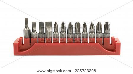 Set Of Screwdriver Bits In A Red Holder, Isolated Over The White Background
