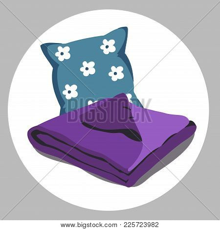 Color Bed Linen. Pillows, Sheets, Blankets. Vector Illustration Of A Cartoon. Ultra Violet Purple Co