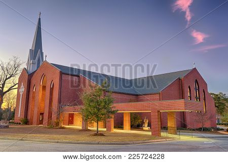 St. Columba Catholic Church In Dothan At Sunset. Hdr Processed.