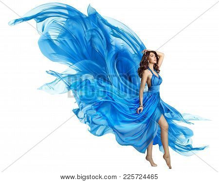 Woman Flying Blue Dress, Elegant Fashion Model In Fluttering Gown On White, Art Fabric Fly And Flutt