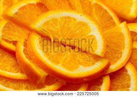 fresh ripe juicy orange cut into slices