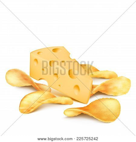 Potato Chips And Cheese Piece Vector Illustration For Product Packaging Design Template. 3d Isolated