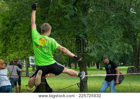Kropivnitskiy, Ukraine - 29 Jule, 2017:  Performance Of Trickline Masters. Performing Stunts On The