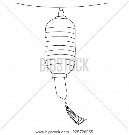 Paper Lantern With A Tassel Swaying In The Wind. Vector Hand Drawn Sketch Illustration.