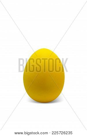 Yellow Easter Egg Isolated On White Background, For Your Holiday Design