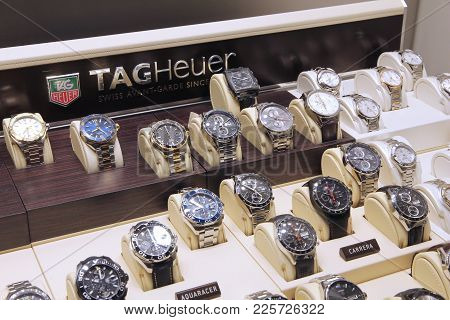 Gran Canaria, Spain - December 4, 2015: Tag Heuer Watches In A Shop Window In Gran Canaria, Spain. C