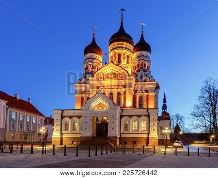 Alexander Nevsky Cathedral On Toompea Hill At Dawn.