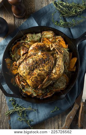 Herby Homemade Rustic Whole Skillet Chicken