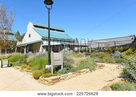 Fullerton, California - February 7, 2017: Fullerton Arboretum Museum And Potting Shed. The Building