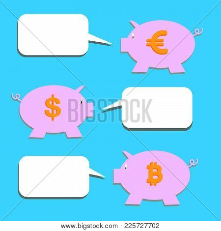 Vector Of Stickers Of Speech Bubbles With Piggy Bank. Blank Empty White Speech Bubbles And Piggy Ban
