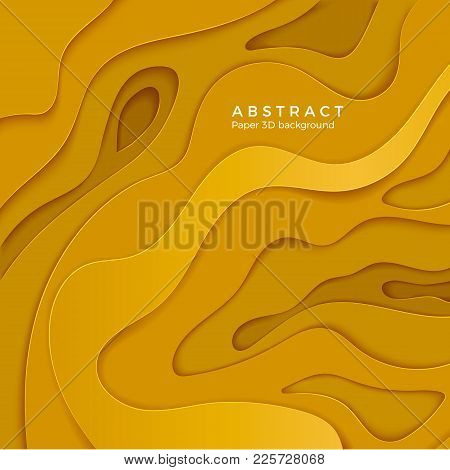 3d Abstract Background With Yellow Paper Cut Shapes. Layer Color Wavy Paper. Design For Business Pos
