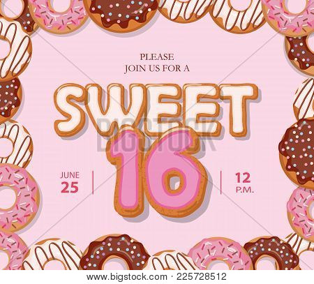Sweet 16 Birthday Card. Cute Cartoon Letters And Donut Frame. Pastel Pink Colors. Vector